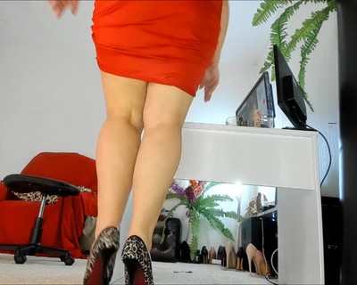 Thumbnail for NaughtyMILFSonya's Premium Video legs, heels, tease, red skirt , upskirt, peep cam,  table, milf