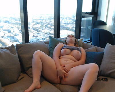 Thumbnail for RubieX's Premium Video Relaxed afternoon cum on the lounge while watching porn.